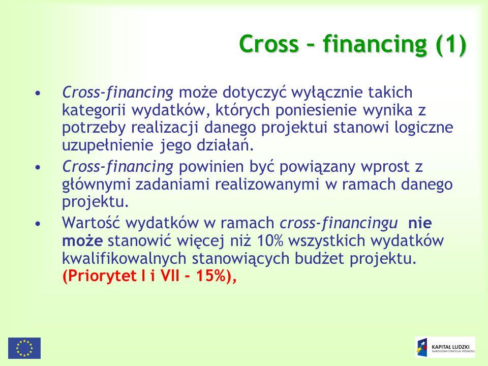 89 Cross – financing (1) Cross-financing może dotyczyć wyłącznie takich kategorii wydatków, których poniesienie wynika z potrzeby realizacji danego pr