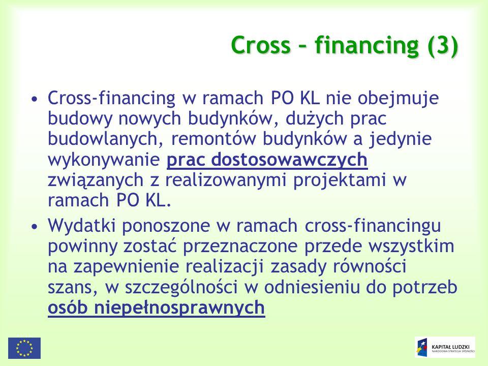 91 Cross – financing (3) Cross-financing w ramach PO KL nie obejmuje budowy nowych budynków, dużych prac budowlanych, remontów budynków a jedynie wyko