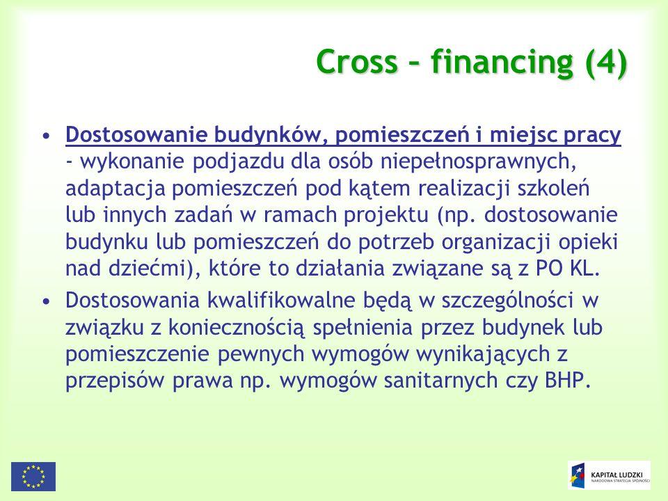 92 Cross – financing (4) Dostosowanie budynków, pomieszczeń i miejsc pracy - wykonanie podjazdu dla osób niepełnosprawnych, adaptacja pomieszczeń pod