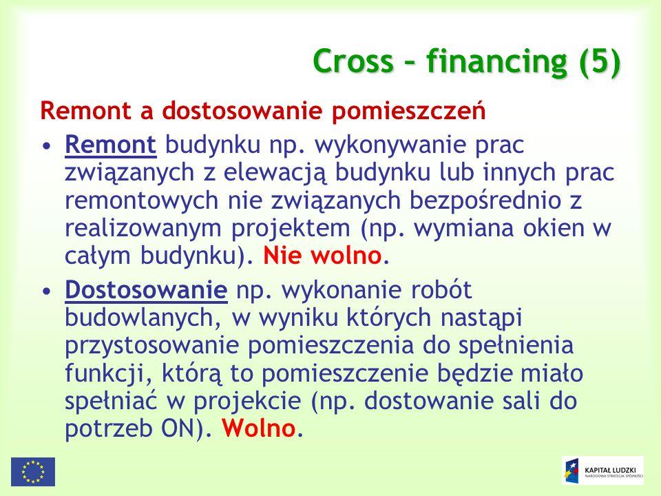 93 Cross – financing (5) Remont a dostosowanie pomieszczeń Remont budynku np. wykonywanie prac związanych z elewacją budynku lub innych prac remontowy