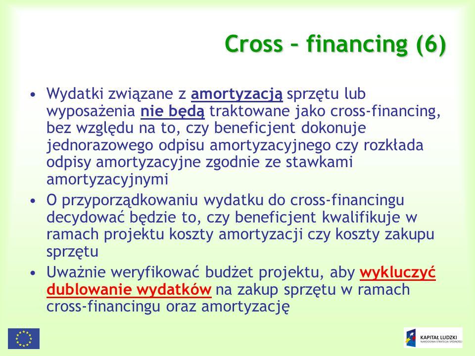 94 Cross – financing (6) Wydatki związane z amortyzacją sprzętu lub wyposażenia nie będą traktowane jako cross-financing, bez względu na to, czy benef