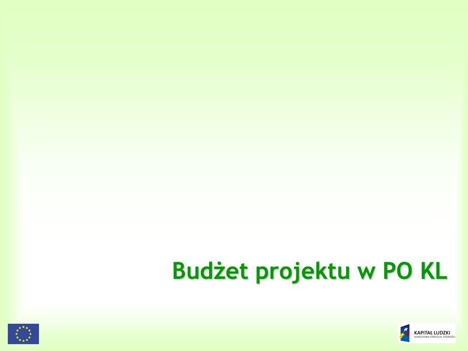 95 Budżet projektu w PO KL