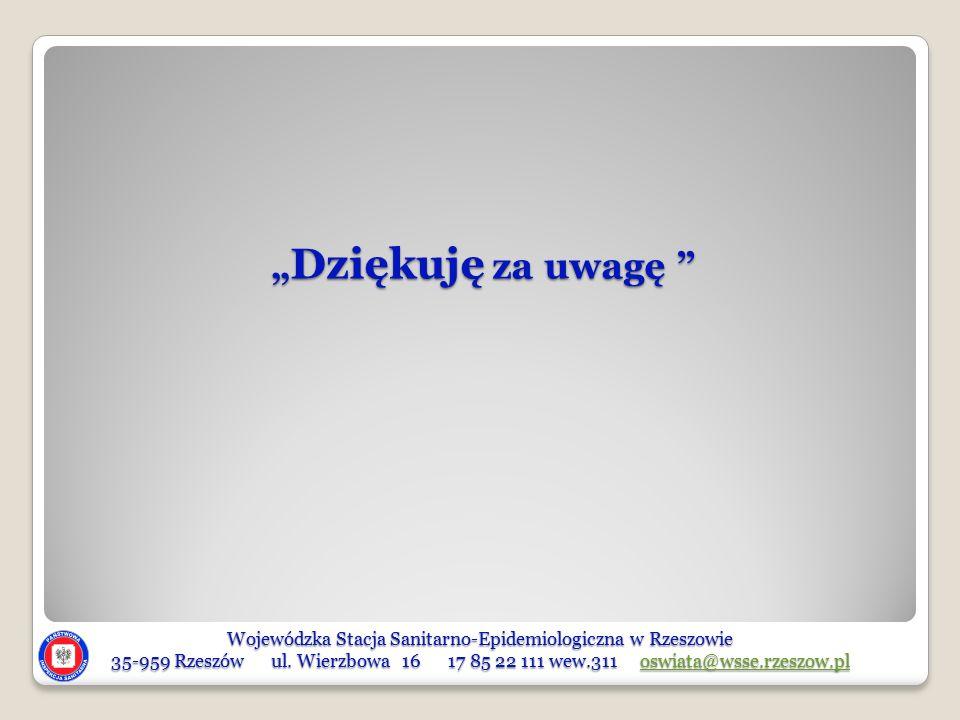 Wojewódzka Stacja Sanitarno-Epidemiologiczna w Rzeszowie 35-959 Rzeszów ul. Wierzbowa 16 17 85 22 111 wew.311 oswiata@wsse.rzeszow.pl oswiata@wsse.rze