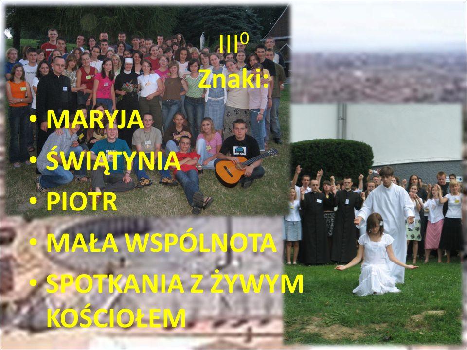 III 0 Znaki: MARYJA ŚWIĄTYNIA PIOTR MAŁA WSPÓLNOTA SPOTKANIA Z ŻYWYM KOŚCIOŁEM