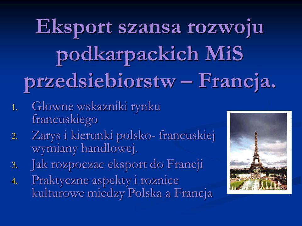 Eksport szansa rozwoju podkarpackich MiS przedsiebiorstw – Francja. 1. Glowne wskazniki rynku francuskiego 2. Zarys i kierunki polsko- francuskiej wym