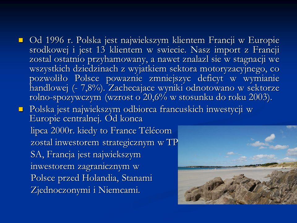 Od 1996 r. Polska jest najwiekszym klientem Francji w Europie srodkowej i jest 13 klientem w swiecie. Nasz import z Francji zostal ostatnio przyhamowa