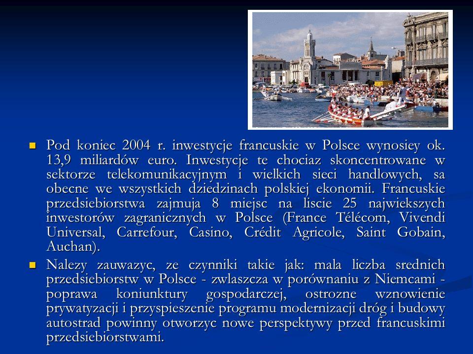 Pod koniec 2004 r. inwestycje francuskie w Polsce wynosiey ok. 13,9 miliardów euro. Inwestycje te chociaz skoncentrowane w sektorze telekomunikacyjnym