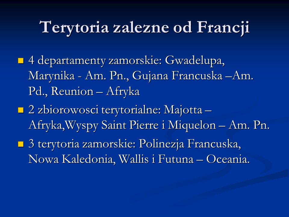 Terytoria zalezne od Francji 4 departamenty zamorskie: Gwadelupa, Marynika - Am. Pn., Gujana Francuska –Am. Pd., Reunion – Afryka 4 departamenty zamor