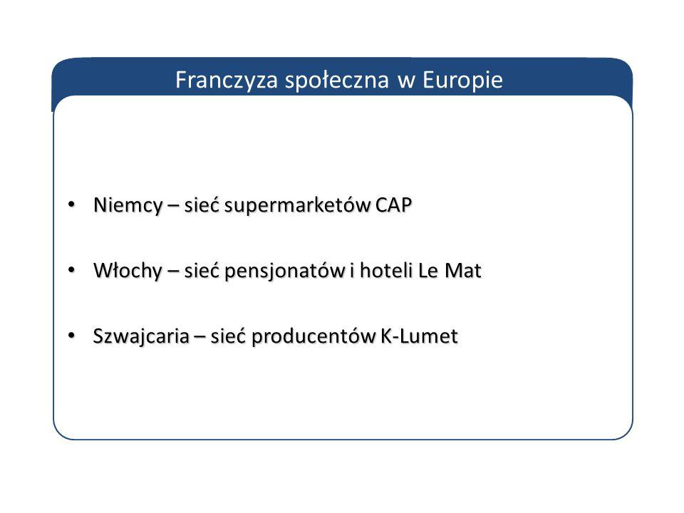 Franczyza społeczna w Europie Niemcy – sieć supermarketów CAP Niemcy – sieć supermarketów CAP Włochy – sieć pensjonatów i hoteli Le Mat Włochy – sieć pensjonatów i hoteli Le Mat Szwajcaria – sieć producentów K-Lumet Szwajcaria – sieć producentów K-Lumet