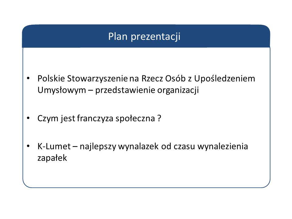 Plan prezentacji Polskie Stowarzyszenie na Rzecz Osób z Upośledzeniem Umysłowym – przedstawienie organizacji Czym jest franczyza społeczna .