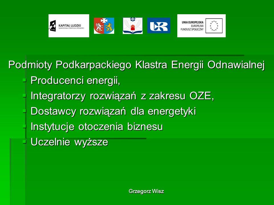 Grzegorz Wisz Podmioty Podkarpackiego Klastra Energii Odnawialnej Producenci energii, Producenci energii, Integratorzy rozwiązań z zakresu OZE, Integr