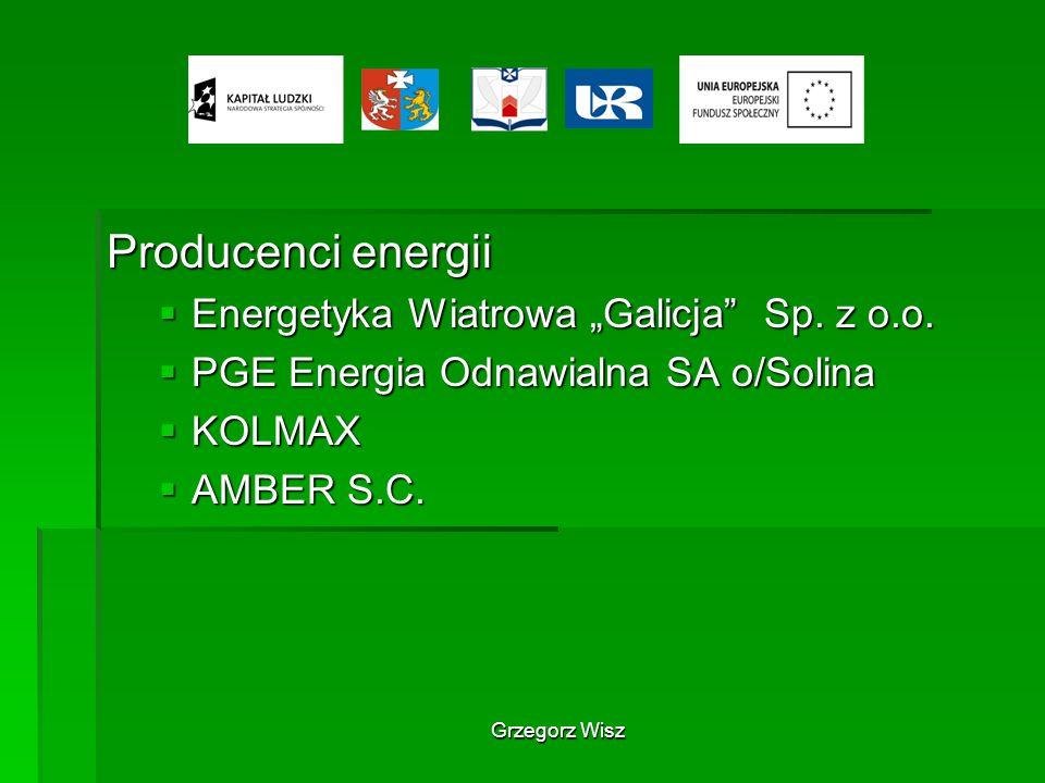 Grzegorz Wisz Producenci energii Energetyka Wiatrowa Galicja Sp. z o.o. Energetyka Wiatrowa Galicja Sp. z o.o. PGE Energia Odnawialna SA o/Solina PGE