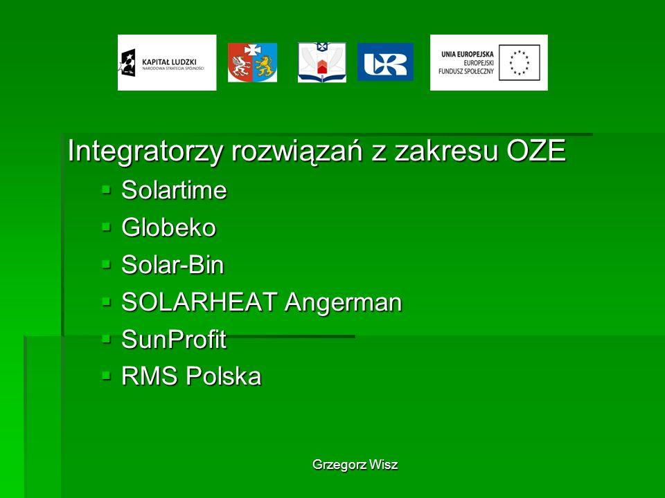 Grzegorz Wisz Integratorzy rozwiązań z zakresu OZE Solartime Solartime Globeko Globeko Solar-Bin Solar-Bin SOLARHEAT Angerman SOLARHEAT Angerman SunPr