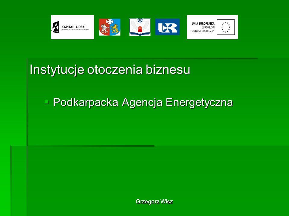 Grzegorz Wisz Instytucje otoczenia biznesu Podkarpacka Agencja Energetyczna Podkarpacka Agencja Energetyczna