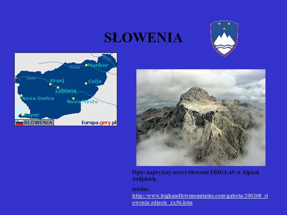 SŁOWENIA Opis: najwyższy szczyt Słowenii TRIGLAV w Alpach Julijskich, źródło: http://www.highandlowmountains.com/galeria/200208_sl owenia/zdjecie_xx56