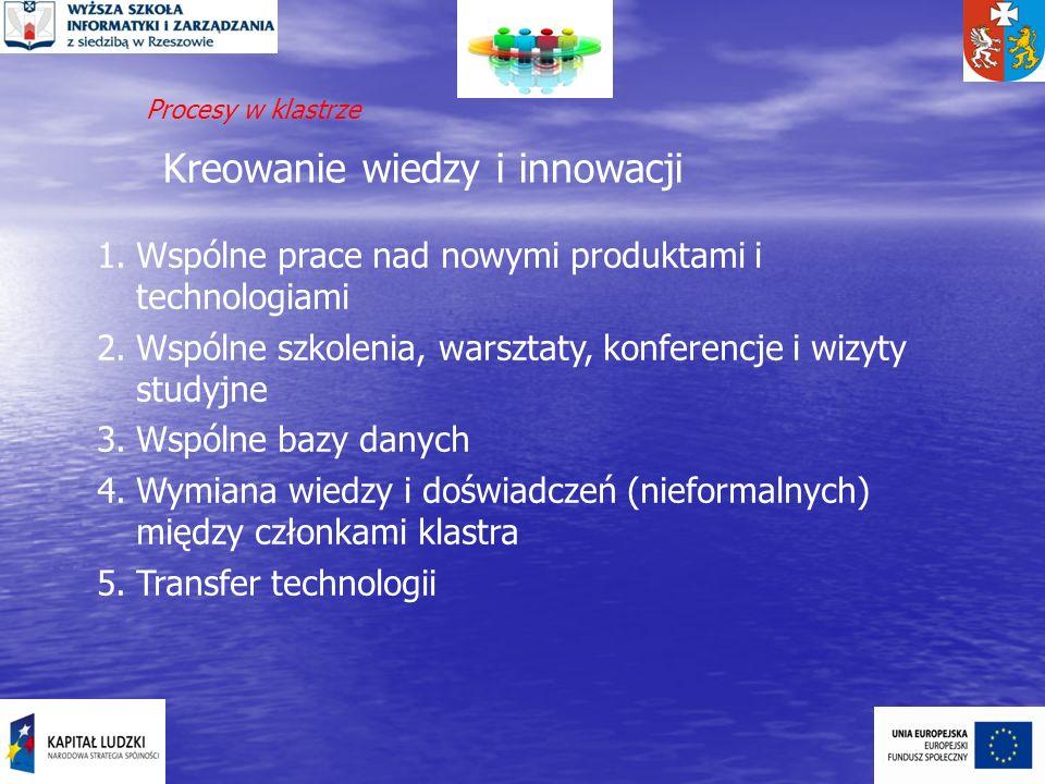 Kreowanie wiedzy i innowacji 1.Wspólne prace nad nowymi produktami i technologiami 2.Wspólne szkolenia, warsztaty, konferencje i wizyty studyjne 3.Wsp