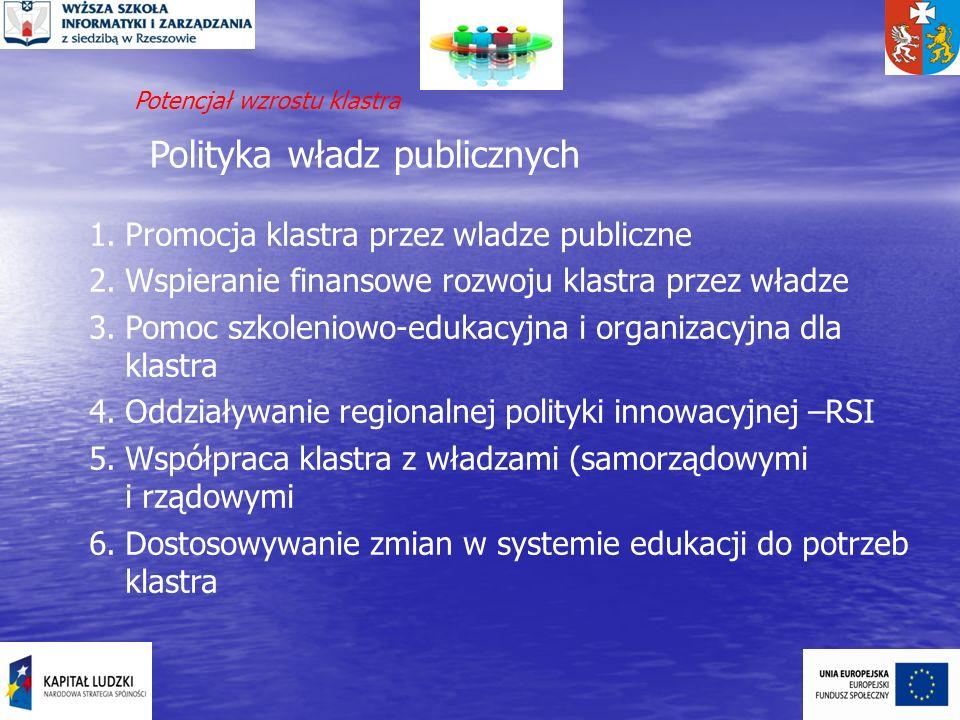 Polityka władz publicznych 1.Promocja klastra przez wladze publiczne 2.Wspieranie finansowe rozwoju klastra przez władze 3.Pomoc szkoleniowo-edukacyjn