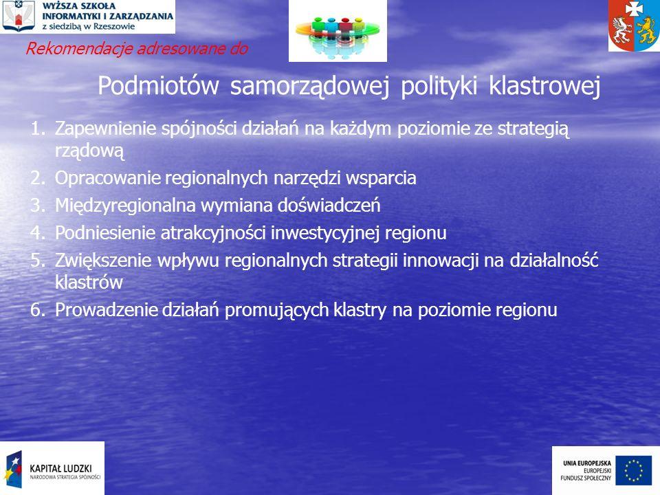 Podmiotów samorządowej polityki klastrowej 1.Zapewnienie spójności działań na każdym poziomie ze strategią rządową 2.Opracowanie regionalnych narzędzi