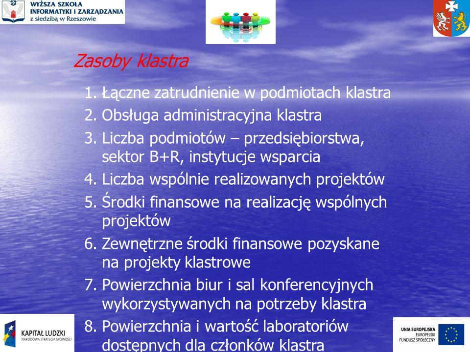 Zasoby klastra 1.Łączne zatrudnienie w podmiotach klastra 2.Obsługa administracyjna klastra 3.Liczba podmiotów – przedsiębiorstwa, sektor B+R, instytu