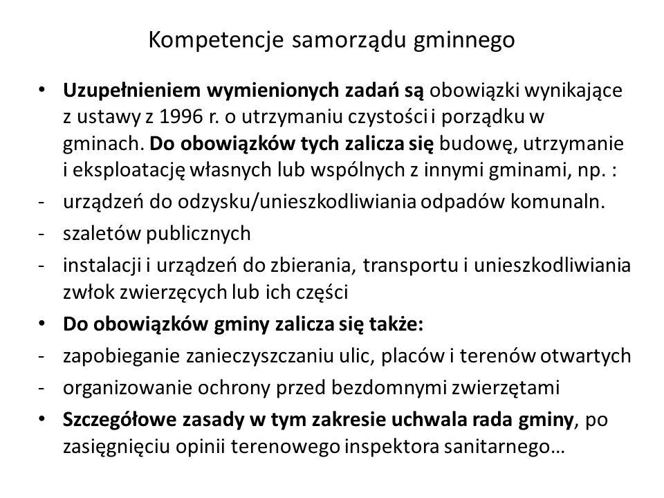 Kompetencje samorządu gminnego Uzupełnieniem wymienionych zadań są obowiązki wynikające z ustawy z 1996 r. o utrzymaniu czystości i porządku w gminach