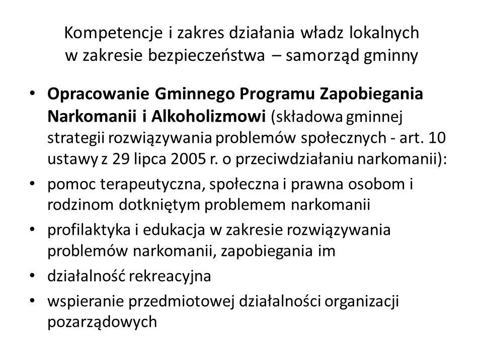 Kompetencje i zakres działania władz lokalnych w zakresie bezpieczeństwa – samorząd gminny Opracowanie Gminnego Programu Zapobiegania Narkomanii i Alk