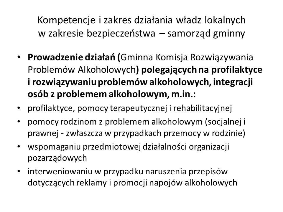 Kompetencje i zakres działania władz lokalnych w zakresie bezpieczeństwa – samorząd gminny Prowadzenie działań (Gminna Komisja Rozwiązywania Problemów