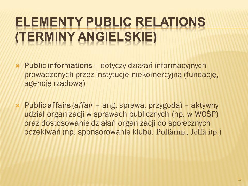 Public informations – dotyczy działań informacyjnych prowadzonych przez instytucję niekomercyjną (fundację, agencję rządową) Public affairs (affair –