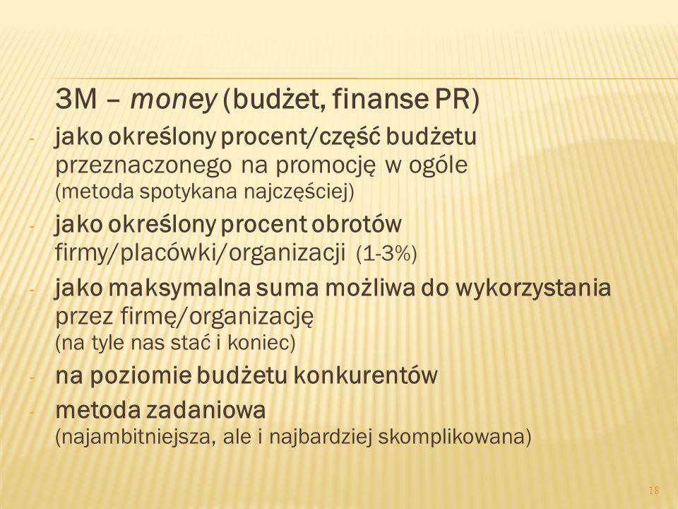 3M – money (budżet, finanse PR) - jako określony procent/część budżetu przeznaczonego na promocję w ogóle (metoda spotykana najczęściej) - jako określ