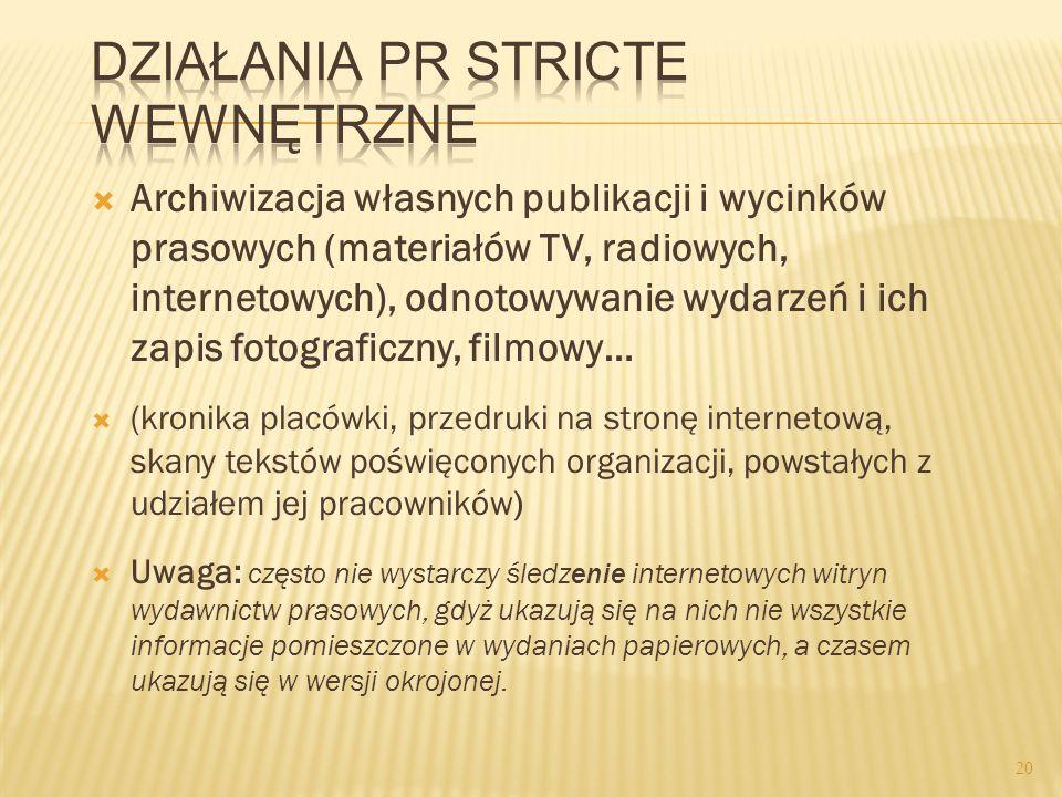 Archiwizacja własnych publikacji i wycinków prasowych (materiałów TV, radiowych, internetowych), odnotowywanie wydarzeń i ich zapis fotograficzny, fil