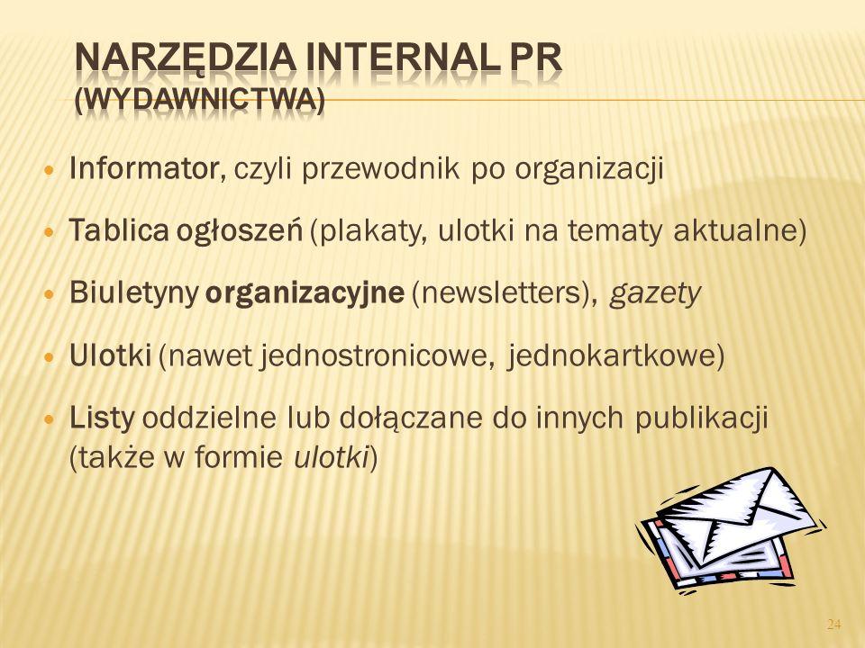 Informator, czyli przewodnik po organizacji Tablica ogłoszeń (plakaty, ulotki na tematy aktualne) Biuletyny organizacyjne (newsletters), gazety Ulotki