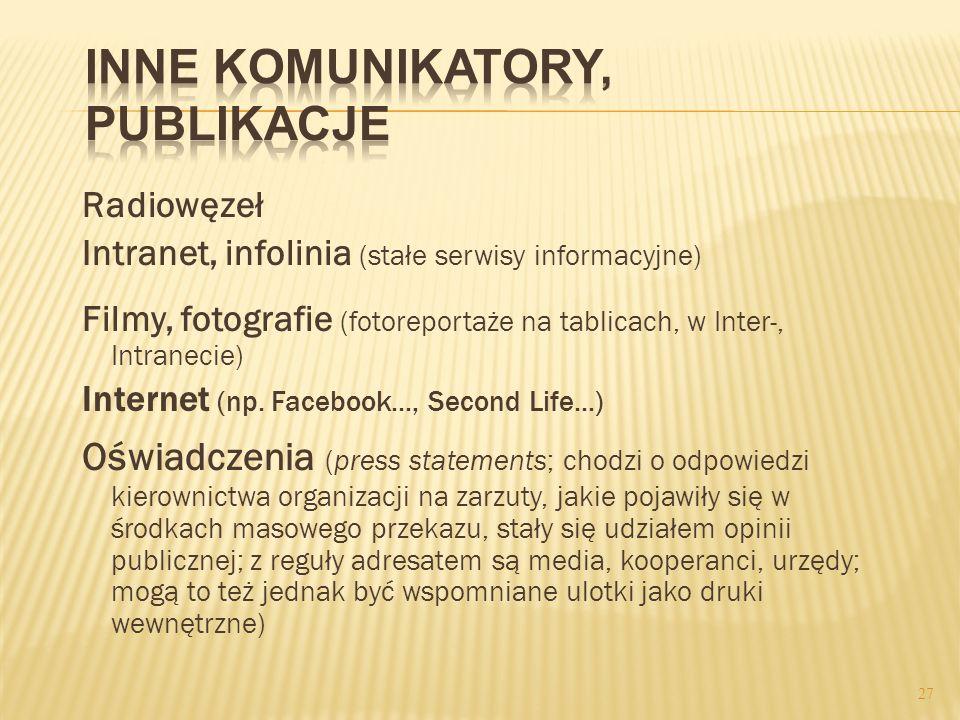 Radiowęzeł Intranet, infolinia (stałe serwisy informacyjne) Filmy, fotografie (fotoreportaże na tablicach, w Inter-, Intranecie) Internet (np. Faceboo