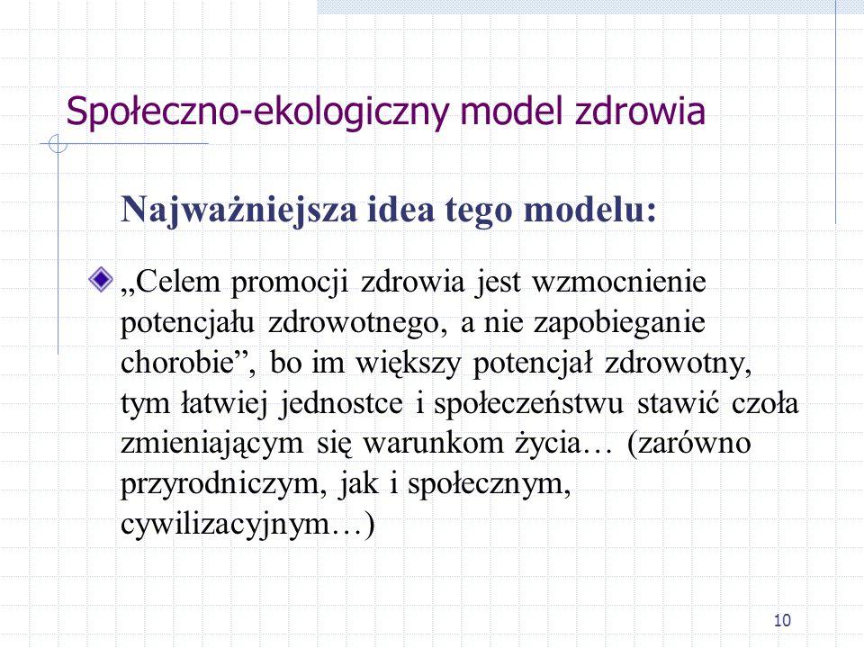 10 Społeczno-ekologiczny model zdrowia Najważniejsza idea tego modelu: Celem promocji zdrowia jest wzmocnienie potencjału zdrowotnego, a nie zapobiega