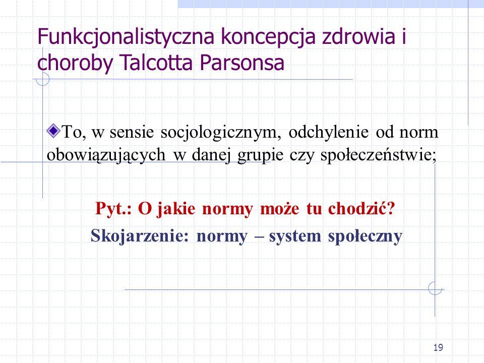 19 To, w sensie socjologicznym, odchylenie od norm obowiązujących w danej grupie czy społeczeństwie; Pyt.: O jakie normy może tu chodzić? Skojarzenie: