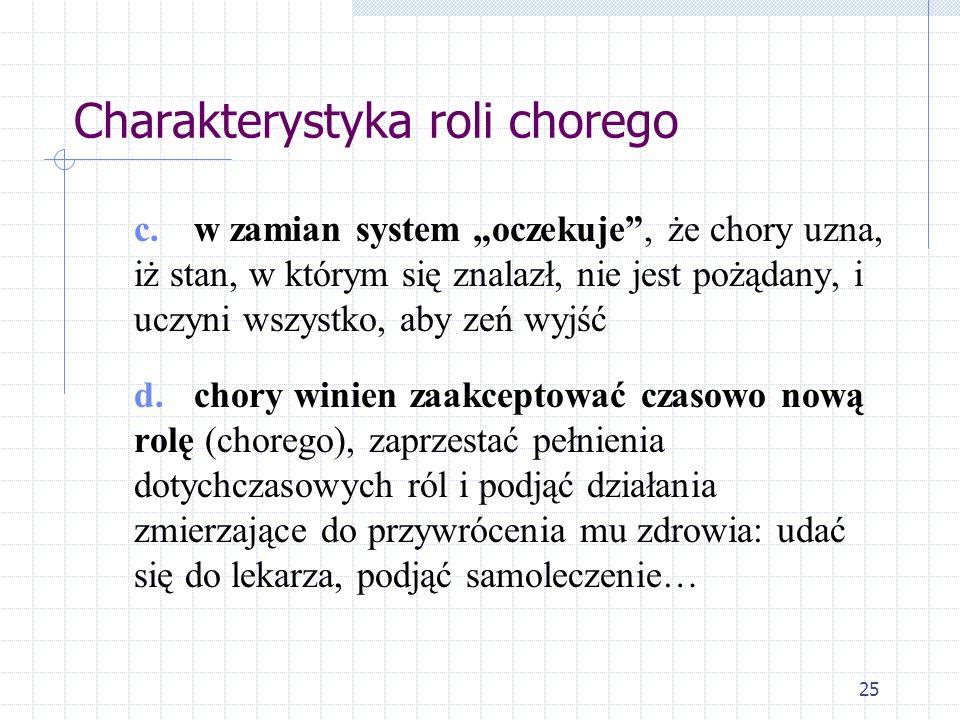 25 Charakterystyka roli chorego c. w zamian system oczekuje, że chory uzna, iż stan, w którym się znalazł, nie jest pożądany, i uczyni wszystko, aby z