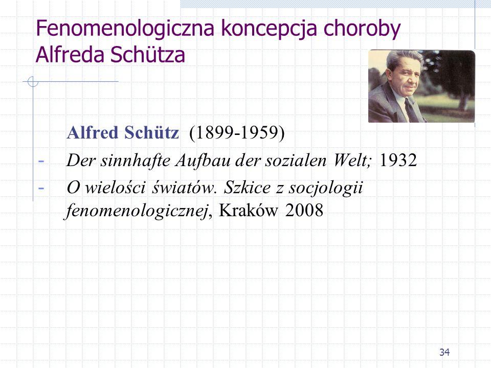34 Fenomenologiczna koncepcja choroby Alfreda Schütza Alfred Schütz (1899-1959) - Der sinnhafte Aufbau der sozialen Welt; 1932 - O wielości światów. S