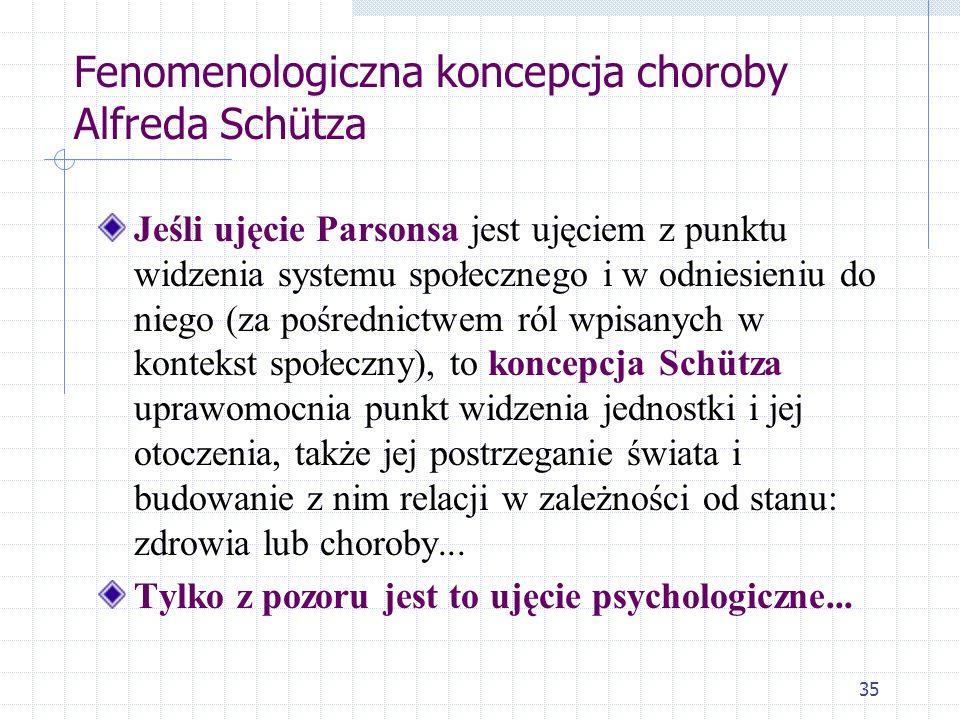 35 Fenomenologiczna koncepcja choroby Alfreda Schütza Jeśli ujęcie Parsonsa jest ujęciem z punktu widzenia systemu społecznego i w odniesieniu do nieg
