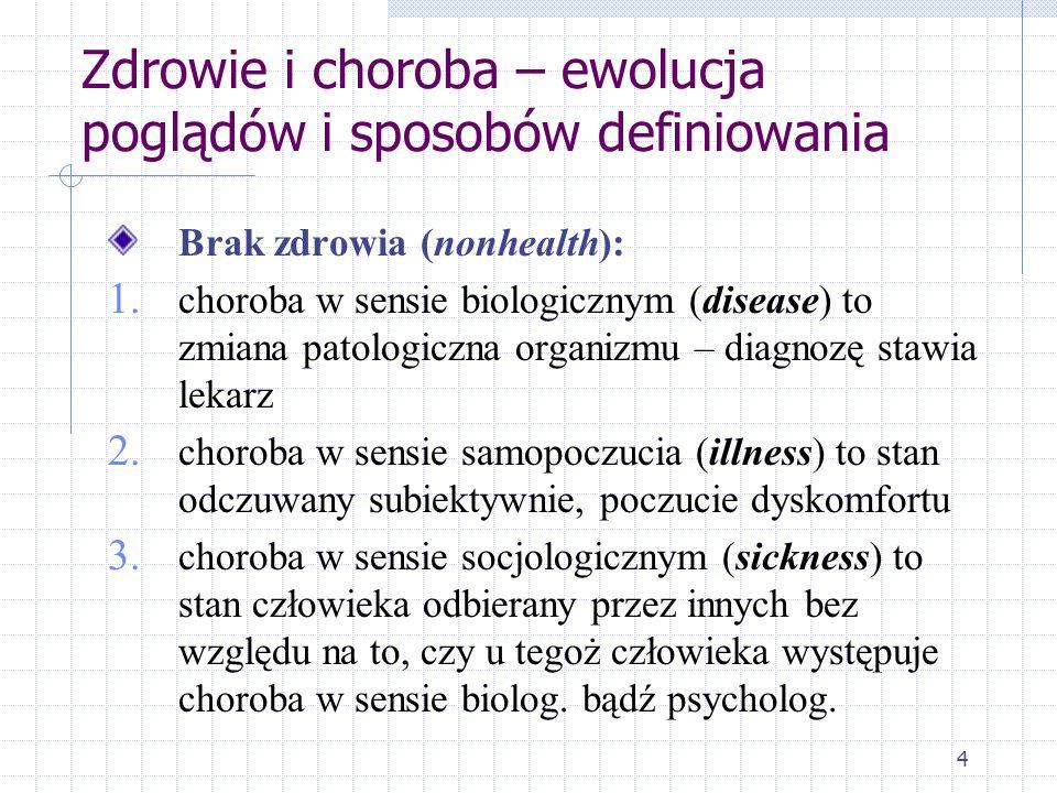 4 Zdrowie i choroba – ewolucja poglądów i sposobów definiowania Brak zdrowia (nonhealth): 1. choroba w sensie biologicznym (disease) to zmiana patolog