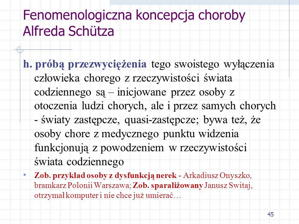45 Fenomenologiczna koncepcja choroby Alfreda Schütza h. próbą przezwyciężenia tego swoistego wyłączenia człowieka chorego z rzeczywistości świata cod