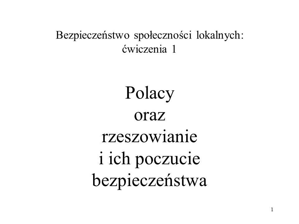 Bezpieczeństwo społeczności lokalnych: ćwiczenia 1 Polacy oraz rzeszowianie i ich poczucie bezpieczeństwa 1