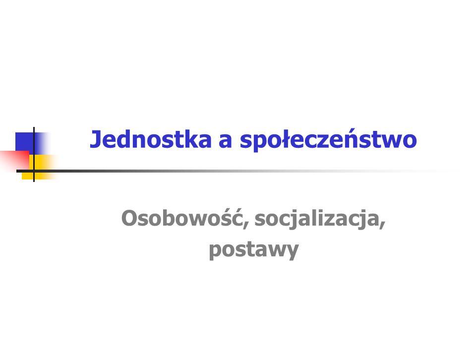 Jednostka a społeczeństwo Osobowość, socjalizacja, postawy