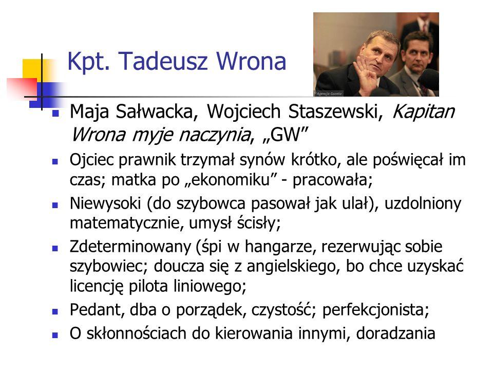 Kpt. Tadeusz Wrona Maja Sałwacka, Wojciech Staszewski, Kapitan Wrona myje naczynia, GW Ojciec prawnik trzymał synów krótko, ale poświęcał im czas; mat