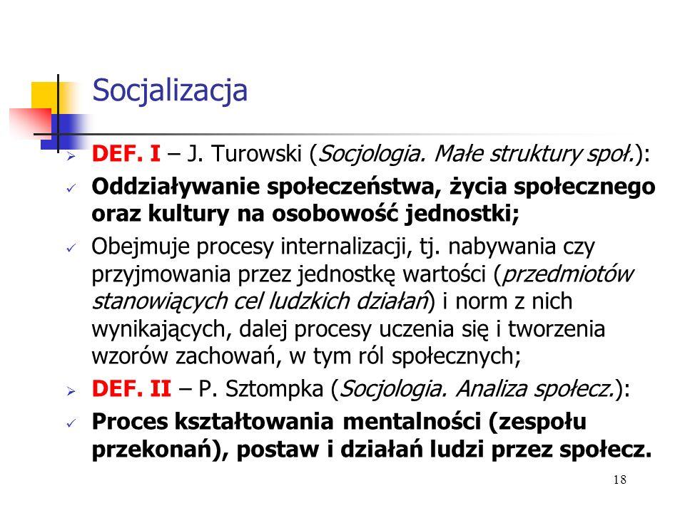 Socjalizacja DEF. I – J. Turowski (Socjologia. Małe struktury społ.): Oddziaływanie społeczeństwa, życia społecznego oraz kultury na osobowość jednost