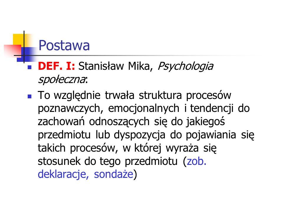 Postawa DEF. I: Stanisław Mika, Psychologia społeczna: To względnie trwała struktura procesów poznawczych, emocjonalnych i tendencji do zachowań odnos
