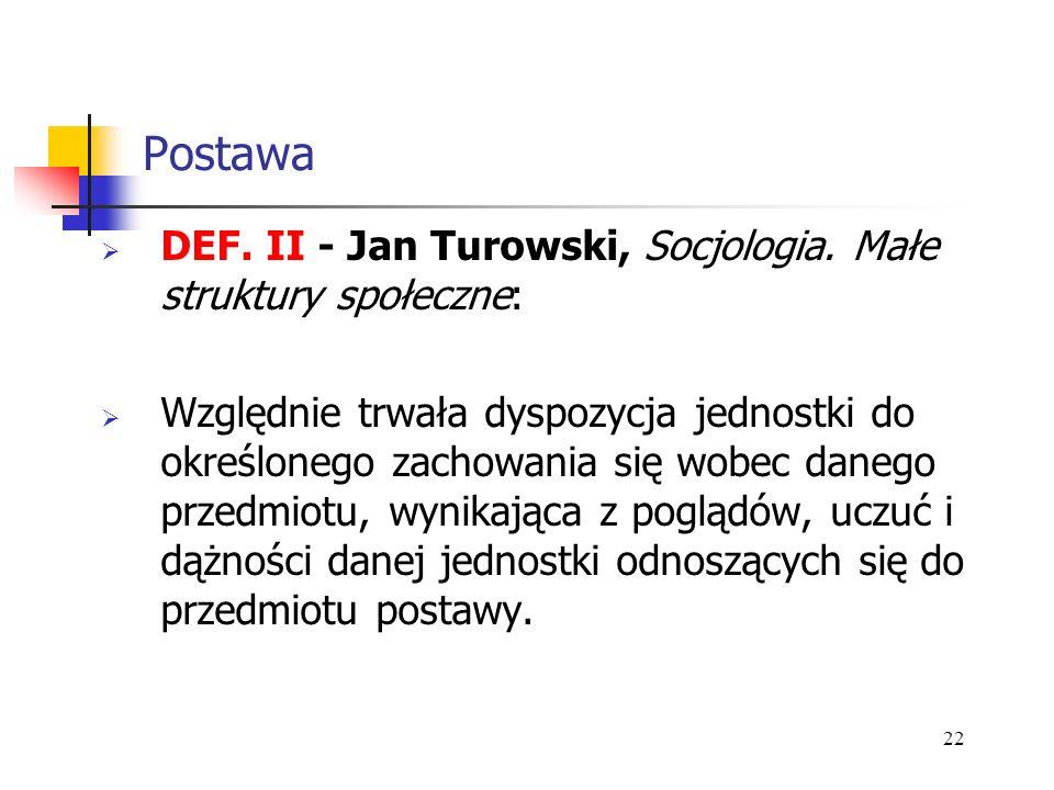 Postawa DEF. II - Jan Turowski, Socjologia. Małe struktury społeczne: Względnie trwała dyspozycja jednostki do określonego zachowania się wobec danego