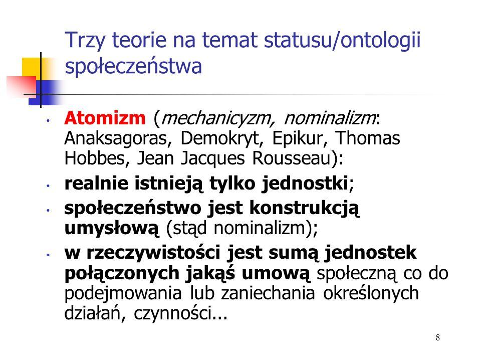 Trzy teorie na temat statusu/ontologii społeczeństwa Atomizm (mechanicyzm, nominalizm: Anaksagoras, Demokryt, Epikur, Thomas Hobbes, Jean Jacques Rous