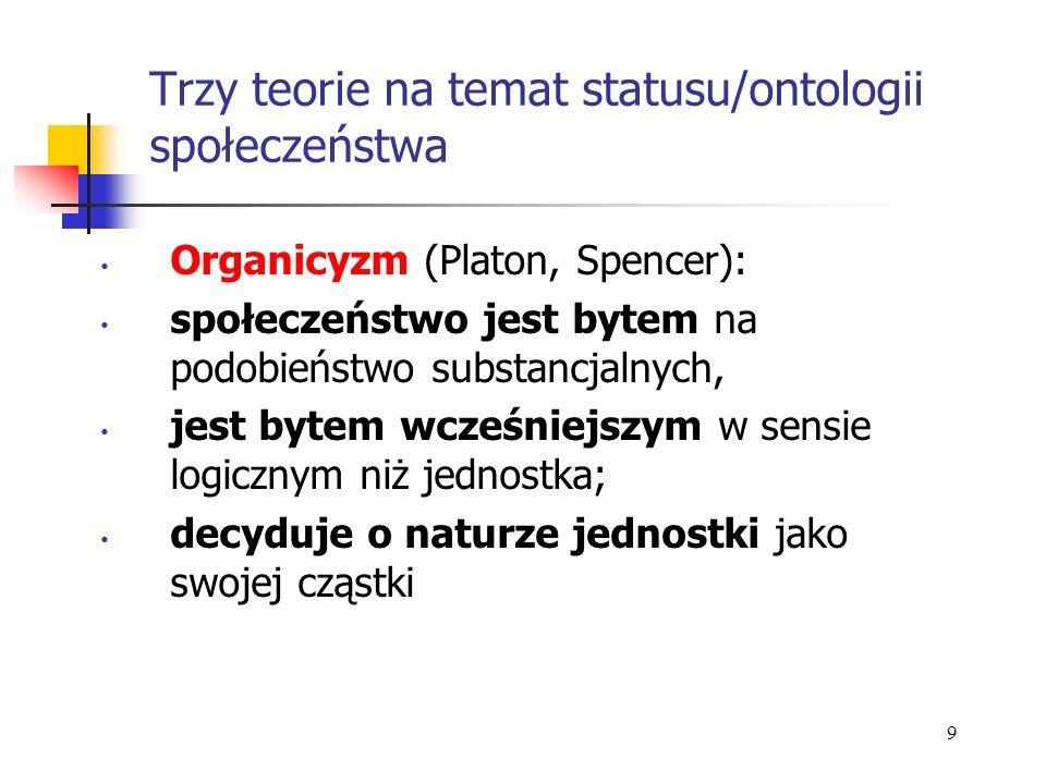 Trzy teorie na temat statusu/ontologii społeczeństwa Organicyzm (Platon, Spencer): społeczeństwo jest bytem na podobieństwo substancjalnych, jest byte