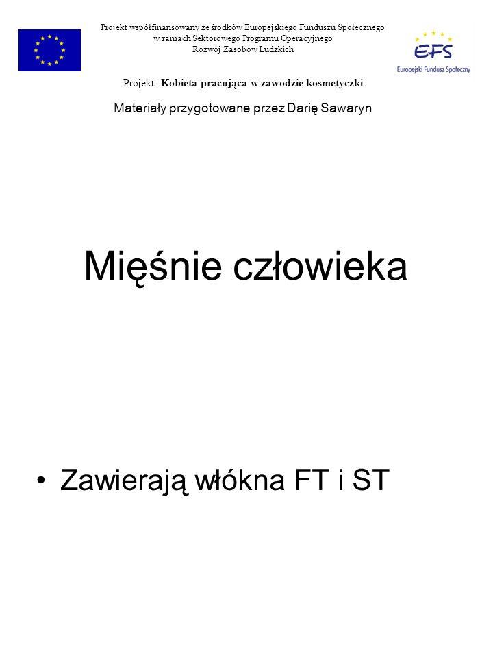 Mięśnie człowieka Zawierają włókna FT i ST Projekt współfinansowany ze środków Europejskiego Funduszu Społecznego w ramach Sektorowego Programu Operac