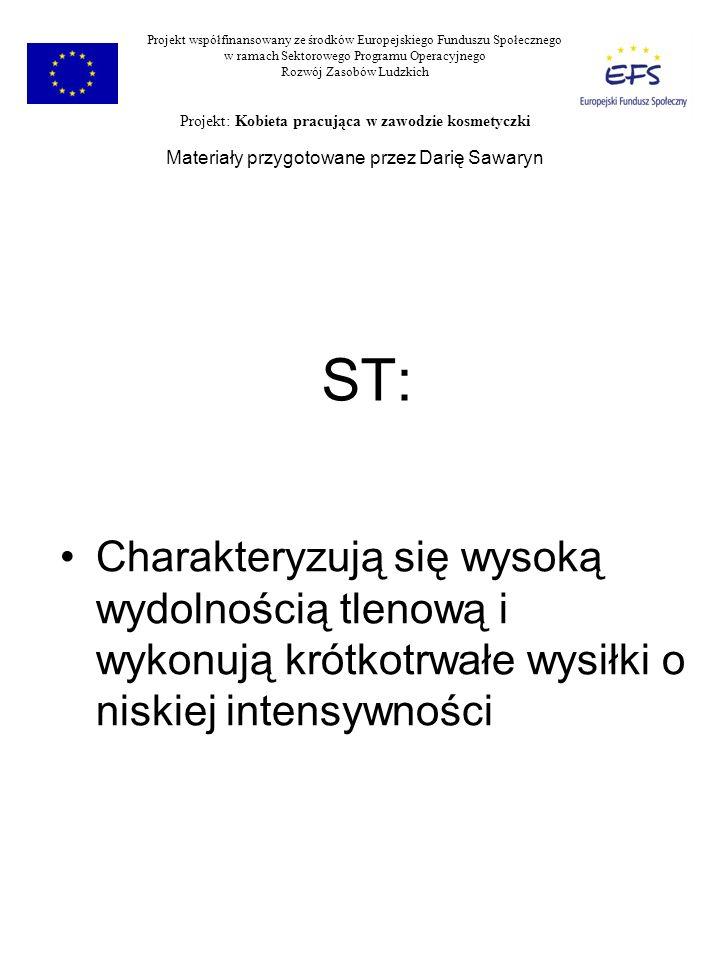 ST: Charakteryzują się wysoką wydolnością tlenową i wykonują krótkotrwałe wysiłki o niskiej intensywności Projekt współfinansowany ze środków Europejs