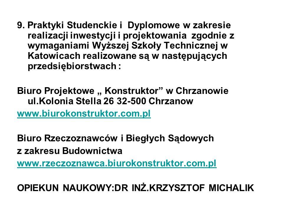9. Praktyki Studenckie i Dyplomowe w zakresie realizacji inwestycji i projektowania zgodnie z wymaganiami Wyższej Szkoły Technicznej w Katowicach real