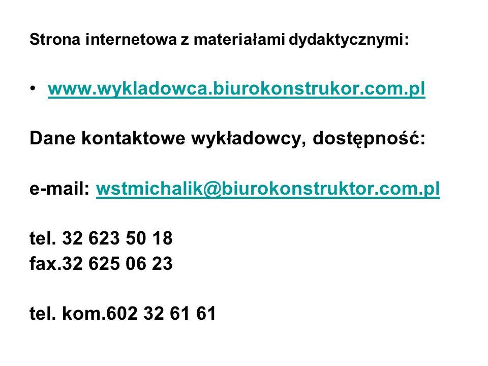 Strona internetowa z materiałami dydaktycznymi: www.wykladowca.biurokonstrukor.com.pl Dane kontaktowe wykładowcy, dostępność: e-mail: wstmichalik@biur